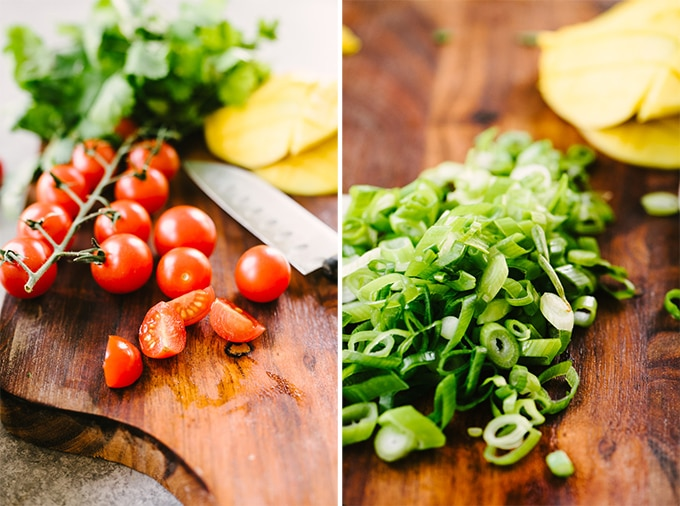 Preparing vegetables for a summer salsa recipe. Left - diced cherry tomatoes; right - thinly sliced green onion on a cutting board.