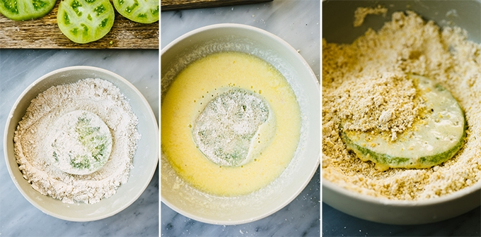 Three images showing how to batter gluten free fried green tomatoes. Oat flour dusting, then egg wash, then cornmeal and oat flour coating.