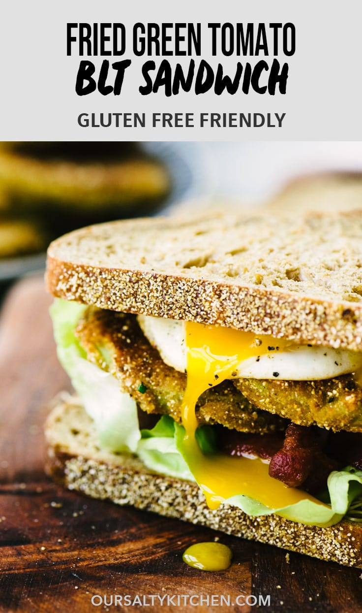 Wanna be a lunch hero this summer? I've got you covered with this fried green tomato BLT sandwich! It's made with gluten free fried green tomatoes, crispy bacon, crunchy sprouts, sweet butter lettuce, and garlic aioli. Sandwich nirvana. Make it today! #blt #summer #sandwich #friedgreentomatoes #realfood #glutenfree