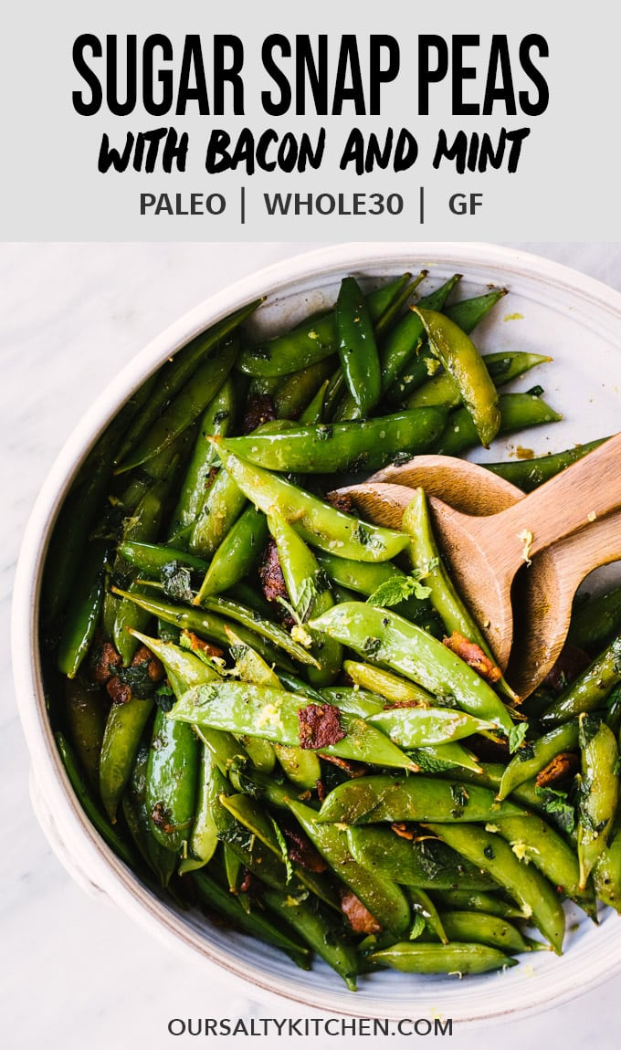 Sautéed sugar snap peas are a delicious, easy spring and summer recipe! They're sweet, bright and crunchy and packed with tons of flavor and nutrition. I love snap peas pan roasted with bacon, then tossed with mint and lots of lemon. This is an easy paleo and Whole30 compliant side dish recipe that you can learn how to cook in a snap. Hehe. #snappeas #sidedish #summer #recipes #foodblog #paleo #whole30