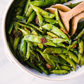 Sugar Snap Peas with Bacon and Mint