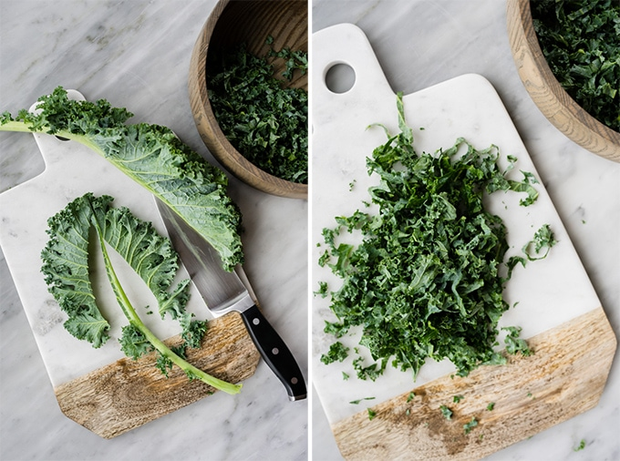 Left - how to remove kale stems. Right - sliced curly kale on a cutting board.