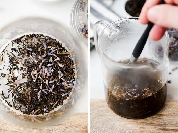 Preparing a london fog latte recipe - brewing earl grey tea with lavender leaves for a refreshing, healthy iced latte recipe.