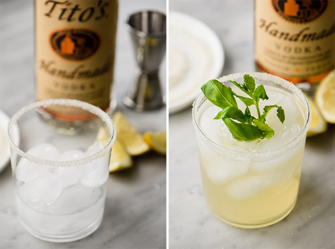How to convert mint and basil lemonade into a summer cocktail with gluten free Tito's vodka.