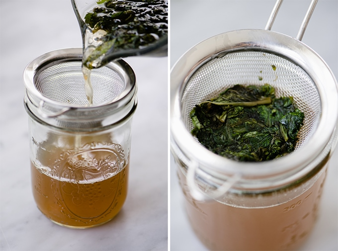 How to strain mint and basil simple syrup.