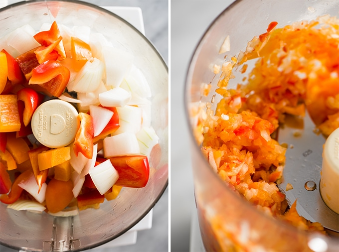 Diced onions and bell peppers in a food processor for veggie packed paleo turkey burgers.