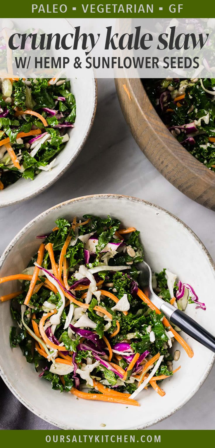 This colorful and crunchy kale slaw is super power food! It's chock full of healthy, plant based vegetables and seeds that are packed with protein and vitamins. It's ready in just 20 minutes and the perfect meal prep recipe to have on hand all week. Use it as a slaw for paleo tacos or pulled pork, or serve it as a gluten free dinner salad with grilled chicken or fish. So versatile, so delicious. #glutenfree #paleo #salad #slaw #healthyrecipes