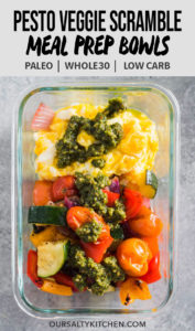 This veggie scramble is a delicious breakfast meal prep recipe that's packed with tons of protein and super easy to prepare. It's made with scrambled eggs and roasted veggies, then drizzled with dairy free almond pesto. Whether you're paleo, whole30, gluten free, low carb, or just want a healthy, warm breakfast to start your day, this prep bowl is for you!