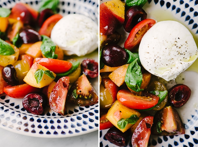 Close up images of stone fruit salad with plums, peaches, nectarines, cherries, and heirloom tomatoes with basil and a serving of burrata cheese.