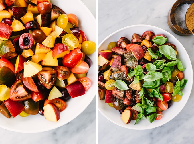 Left - diced stone fruits and tomatoes in a cutting board. Right - stone fruit salad topped with salt, pepper, and fresh basil.
