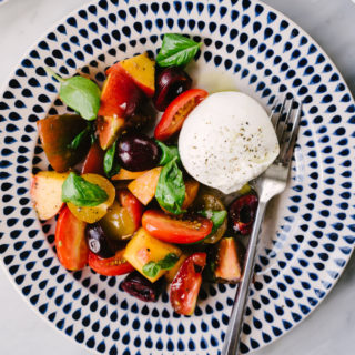 Stone Fruit Salad with Tomato and Burrata