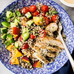 Summer Quinoa Salad with Sunbutter Sauce