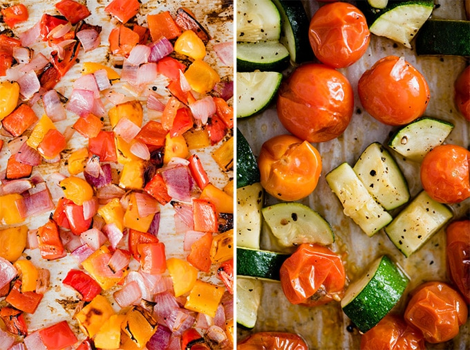 Roasted vegetables on a baking sheet, ready to be tossed with scrambled eggs for breakfast meal prep bowls.