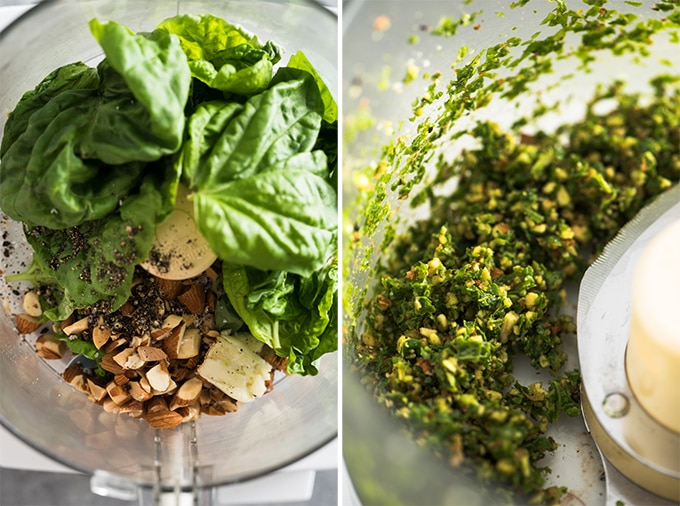 Almonds, basil, garlic, salt and pepper in the bowl of a food processor.