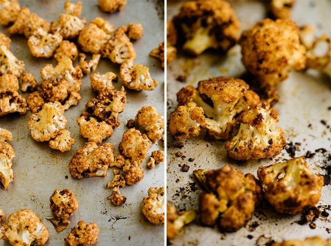 Shawarma spiced cauliflower on baking sheets before and after being roasted.