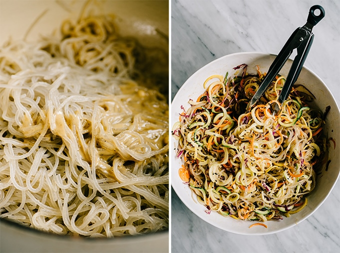 Left - cooked sweet potato glass noodles tossed with sesame ginger dressing. Right, rainbow glass noodle salad in a large white bowl.