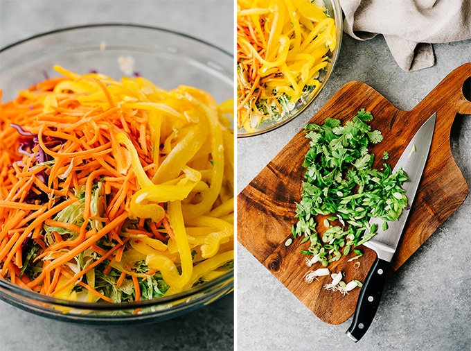 Left - healthy chicken salad base topped with shredded carrots and bell peppers. Right - thinly sliced green onions and chopped parsley on a cutting board.