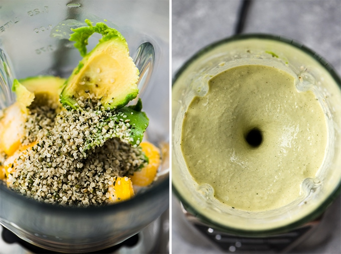 Left - mango, avocado, and hemp seeds in a blender. Right - a mango avocado smoothie being blended.