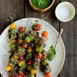 Flank Steak Skewers with Tomatoes and Pesto