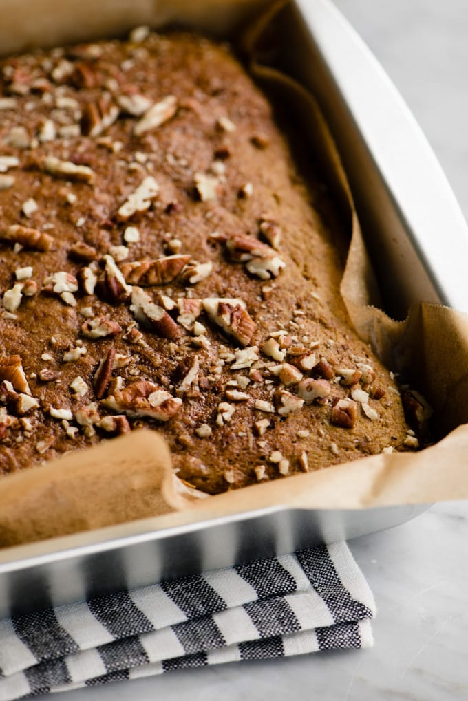 Healthy pumpkin bars with pecans fresh from the oven.