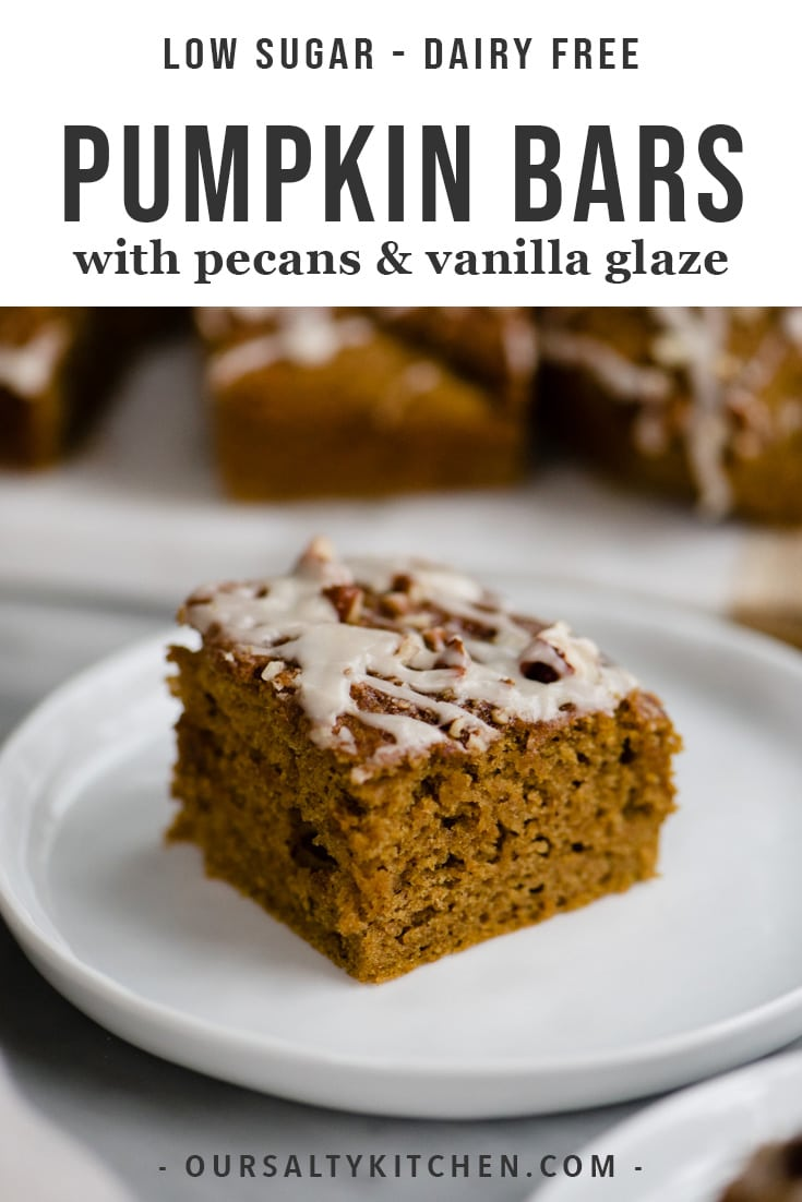 Pumpkin season is here! Let's celebrate with cake. But not just any cake. A healthier take on a classic - these dairy free, low sugar pumpkin bars. Made with whole wheat flour, olive oil, and maple syrup, these healthy pumpkin bars are moist, tender, crumbly, and perfectly spiced. They're decadent enough for dessert, but healthy enough for breakfast. Let's bake! #pumpkin #pumpkinbars #desserts #baking #healthybaking #dairyfree #sugarfree