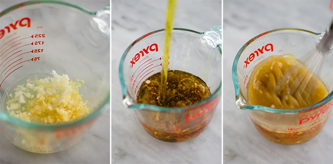 Step by step photos showing how to make lemon red wine vinaigrette for a no mayo italian potato salad recipe.