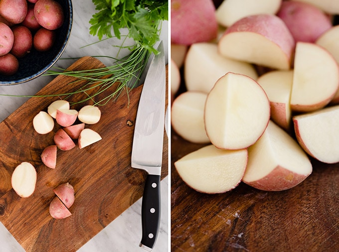Diced baby new potatoes on a cutting board, and a close-up image of quartered baby potatoes for no mayo italian potato salad.