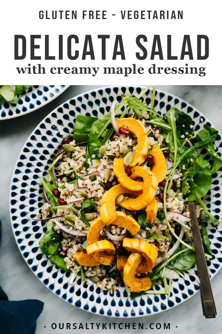 Delicata squash is my winter squash hero, and it just might be yours too! Sweet, nutty, and easy to prepare, roasted delicata squash shines in this seasonal fall salad with arugula, pomegranate, and creamy maple dressing. This vibrant delicata squash salad is vegetarian, naturally gluten free, and packed with healthy vitamins and minerals. You'll love it for lunch, dinner, or as an impressive Thanksgiving side dish. #glutenfree #healthysalads