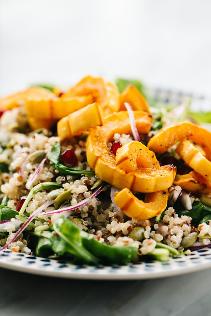 Roasted delicata squash over a salad of quinoa, arugula, pomegranate, pepitas, and red onion and with maple vinaigrette.
