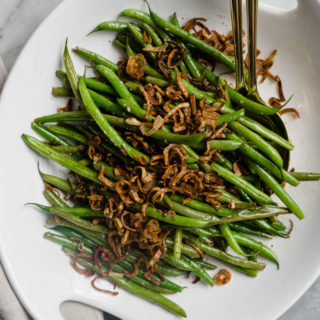 Garlicky Green Beans with Crispy Shallots