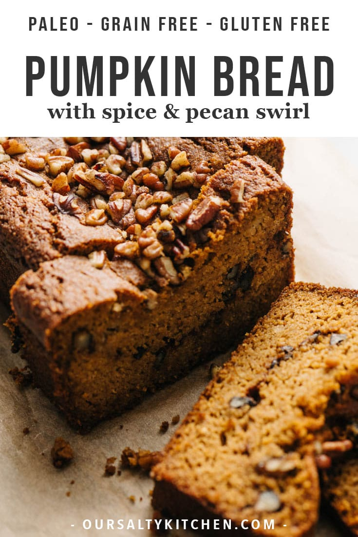 This paleo pumpkin bread is everything you want in a healthy fall baking recipe - easy to prepare, perfectly pumpkin flavored and spiced, and insanely delicious. It's paleo, low carb, and refined sugar free, healthy enough for breakfast, and sweet enough for a treat. This paleo pumpkin bread freezes beautifully, so you'll be able to savor the flavor of fall all winter long. #paleo #pumpkin