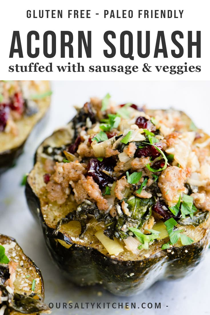 Stuffed acorn squash is sweet, savory, cozy, and bursting with flavor - an autumnal delight! Italian sausage, leeks, cranberries, spinach, and herbs are stuffed into acorn squash, sprinkled with parmesan cheese, and roasted until tender and bubbling. This gluten free and paleo friendly recipe is a beautiful Thanksgiving appetizer or fall dinner recipe to impress. #glutenfree #grainfree #acornsquash #realfood #appetizer #dinner #fall #fallfood