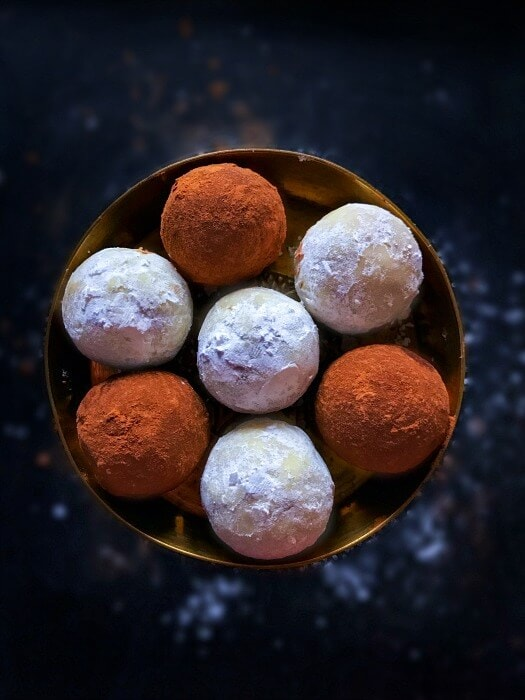 A bowl of gingerbread cookie truffles, a delicious edible Christmas gift.