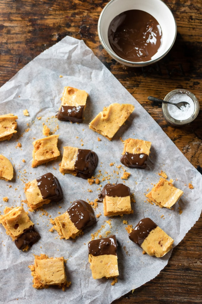 Pieces of salted chocolate honeycomb candy, the perfect easy and elegant edible Christmas gift.