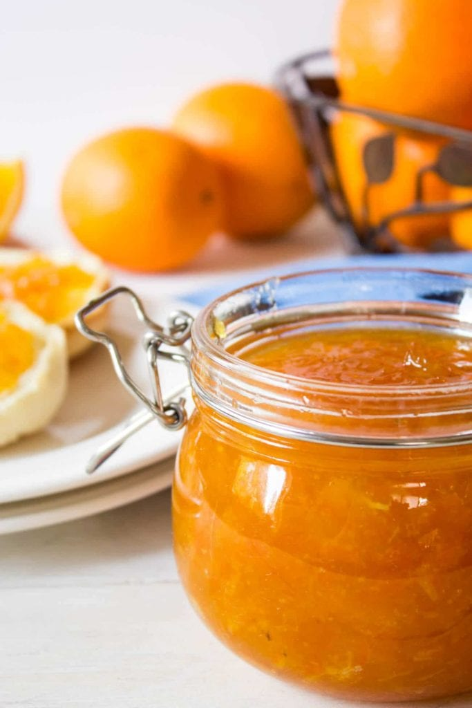 A jar of homemade orange marmalade, an easy edible christmas gift to make in advance.