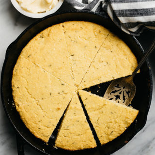 Healthy Cornbread with Rosemary and Honey Butter
