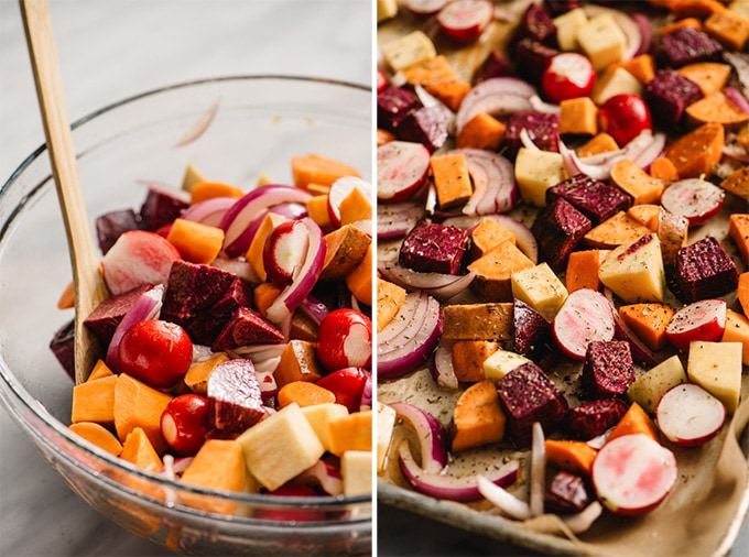 Chopped root vegetables tossed with maple syrup in a mixing bowl and spread onto a baking sheet.
