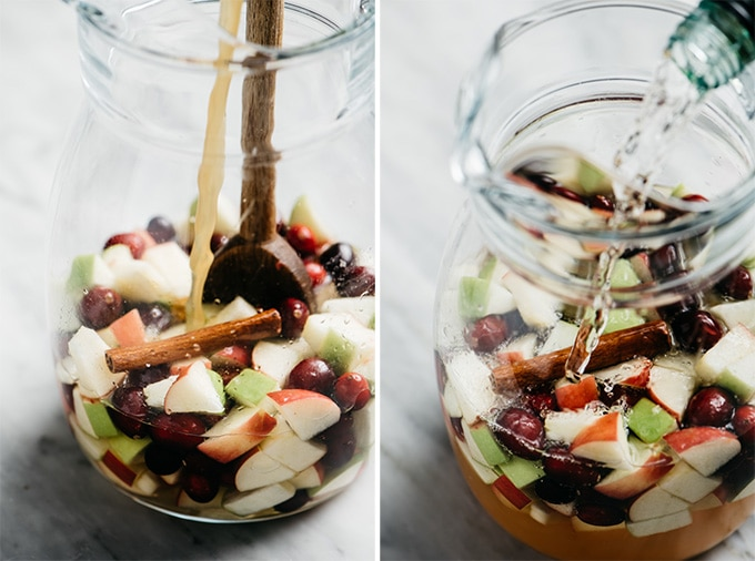 Two images showing how to make fall apple cider sangria in a large pitcher with fresh fruit.