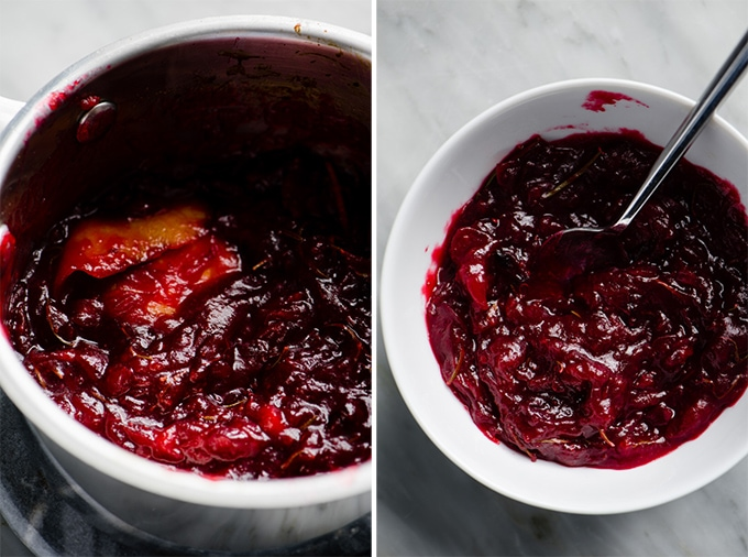 Cooked cranberry jam in a sauce pot, and in a small white bowl.