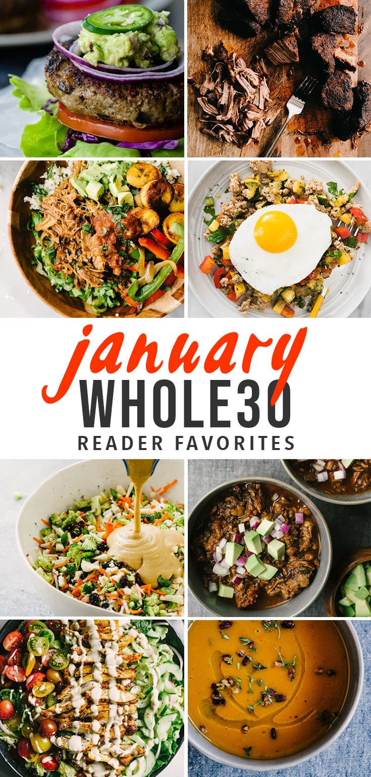 A collage of Whole30 compliant recipes for a January Whole30 challenge inspiration.