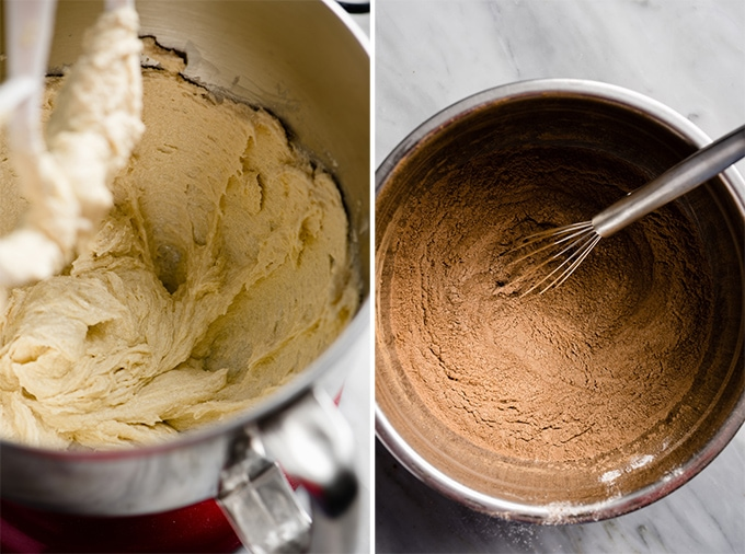 How to make whoopie pies - creamed butter and sugar in a mixing bowl, and a second mixing bowl filled with flour and cocoa powder.