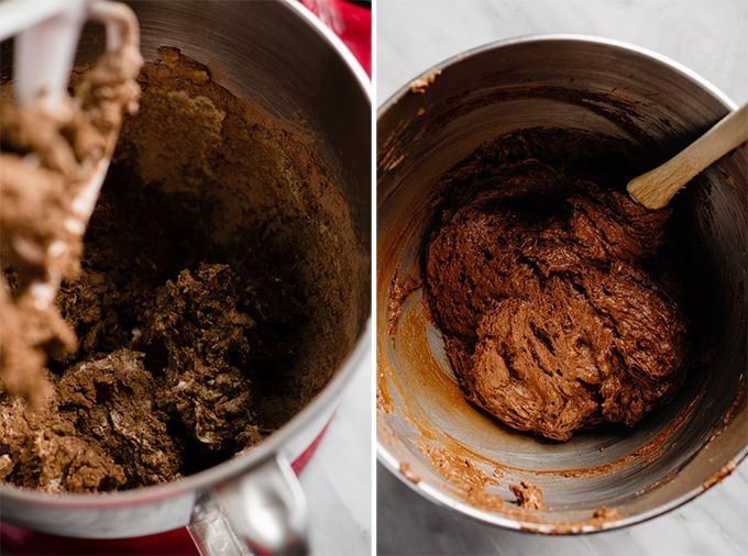 Whoopie pie dough in a mixing bowl with half the dry ingredients added, and finished whoopie pie dough in a mixer.