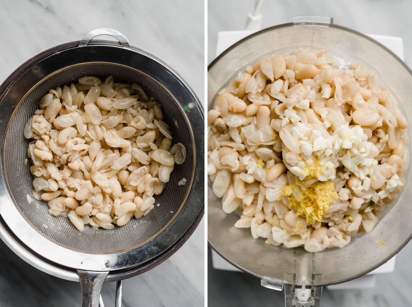 Soft cooked white beans in a strainer over a pot, and cooked white beans with garlic and lemon zest in a food processor.