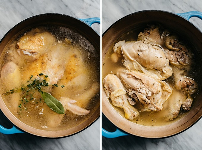 Chicken pieces with water and seasonings in a dutch oven before and after simmering for making low carb chicken zoodle soup.