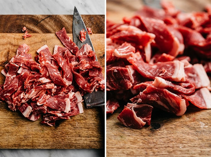 Two images showing how to cut very thin strips of sirloin steak for making healthy Whole30 beef bulgogi (korean beef bbq).