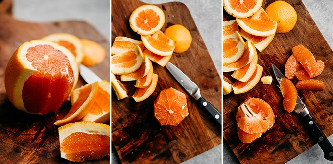 Three images showing how to to supreme an orange.