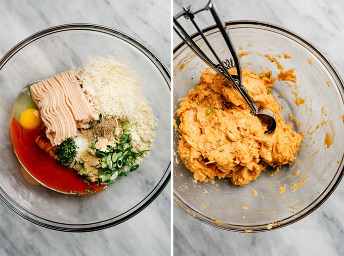 Two images showing the ingredients for making buffalo chicken meatballs.