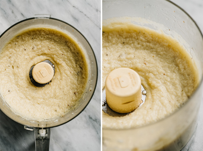 Cauliflower puree in the bowl of a food processor.