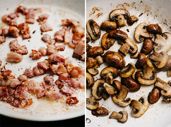 Diced crispy bacon and crispy mushrooms in a skillet for making healthy tuscan chicken.