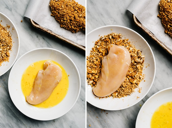 Two images showing how to dredge chicken in egg and crushed pecans to make baked pecan chicken.